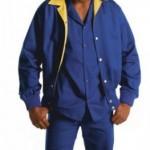 Calça de elástico em brim leve + jaleco curto manga curta em brim leve + Jaqueta masc sem fibra, com forro em Microfibra.