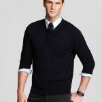 Calça modelo jeans + Camisa mg longa em microfibra + Sueter de lã masculino.