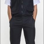Calça masculina em Oxford + Camisa mg curta em Tricoline + Colete com elástico na cintura e fechamento de ziper em brim leve.
